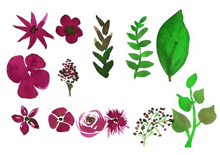 Set of watercolor pink flowers and green leaves