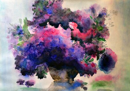 Watercolor Sihlouette Flowers Lilacs In A Vase Floral Background Texture Hand Painted Illustration