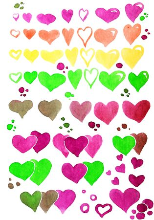 Set of watercolor hearts in different colors Фото со стока