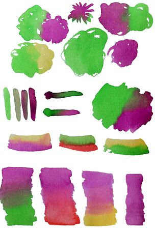 Collection of stains hand painted with watercolor isolated on white background. Bundle of paint blots of different shape and color. Set of aquarelle design elements. Colorful  illustration. Фото со стока