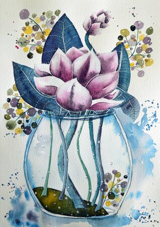water lily or lotus in vase watercolor background Фото со стока