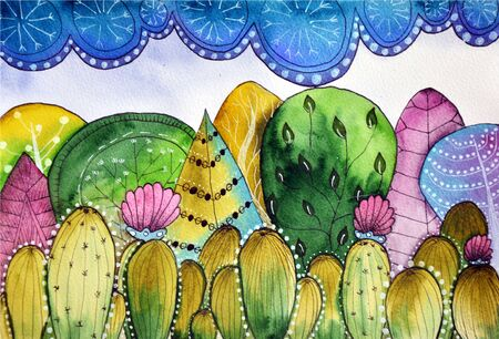 Watercolor painted landscape of cacti forest and sky