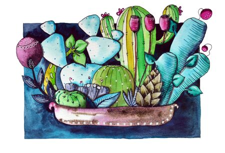 Watercolor handpainted succulent plants and cacti in painted pot.Watercolor illustration on white background Фото со стока