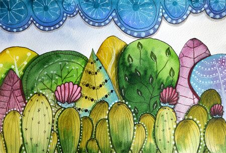 Watercolor painted landscape of cacti forest and blue sky Фото со стока