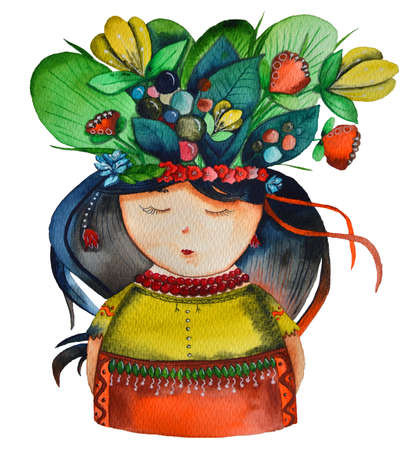 The Ukrainian girl with flowers in her head and national cloths 免版税图像