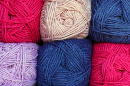 pinks: Balls of wool packed together, pinks Stock Photo