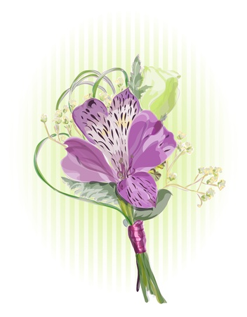 corsage: Alstroemeria and Eustoma. Vector illustration.
