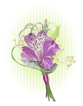 Alstroemeria and Eustoma. Vector illustration.
