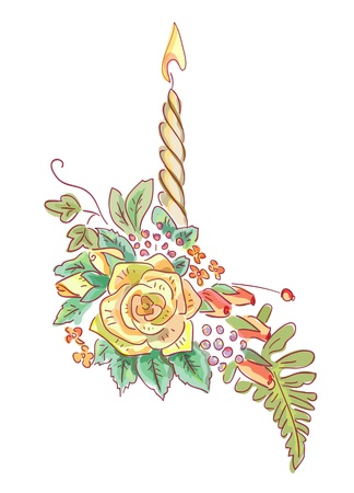 holder: Yellow rose with a candle and ferns. Illustration