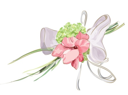 Wedding Floral Decor with Hydrangea and Gladiolus. Vectpr illustration. Vettoriali