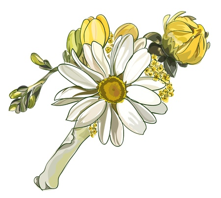 boutonniere: Boutonniere with white chrysanthemum.