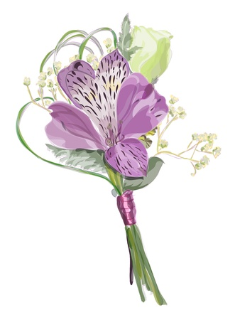 corsage: Boutonniere with Alstroemeria and Eustoma. Vector illustration.