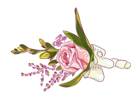 Boutonniere with a pink rose, meadow flowers and bow. Vector