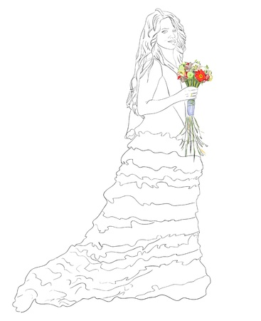 Bride with bouquet. Vector sketch. Vector