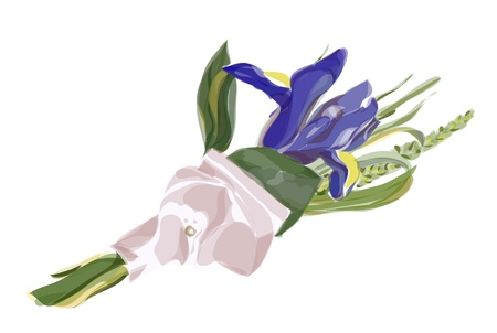 Wedding Boutonniere with blue iris and meadow grasses. Watercolor imitation.