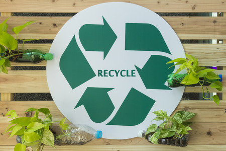 a public notice: The public relations sign for fight gives people to recycle. Stock Photo