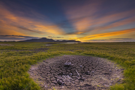 plentifully: Lack of water in reservoir fields after no rain  for a long time. Stock Photo