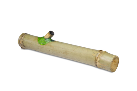 confiscated: Marijuana pipe for burnt marijuana build by bamboo isolate with clipping path. It was confiscated by the police and this photo was shot at the police station. Stock Photo