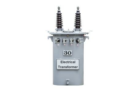mva: Transformer and the small voltage electric isolated on white background. Stock Photo
