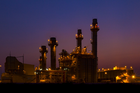 electric generating plant: Gas turbine electrical power plant at dusk (twilight)