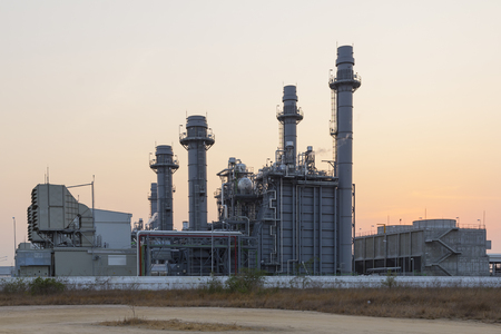 thermal pollution: Gas turbine electrical power plant at dusk (twilight)