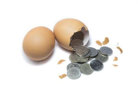lays: A chicken lays an egg and there is money inside.