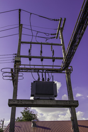 tension: Electricity high tension blue sky