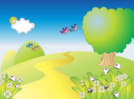gelukkig tuin Vector Illustratie
