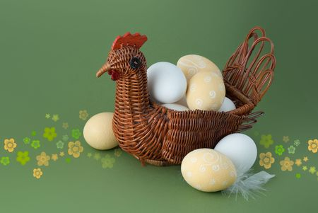 Easter eggs within wooden hen