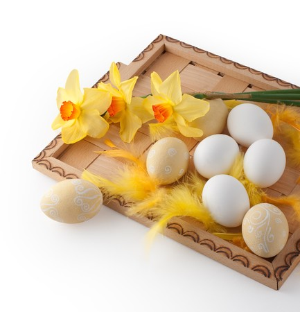 Easter eggs on a tray with flowers  Stock Photo