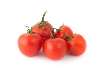 Red tomatoes on a white background