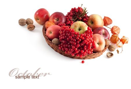basket with fruit and nuts Stock Photo