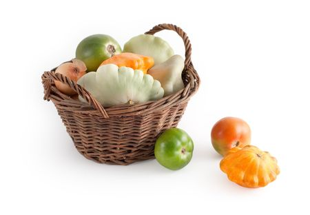 Basket with autumn vegetables