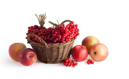 basket with a viburnum and apples on a white background Stock Photo