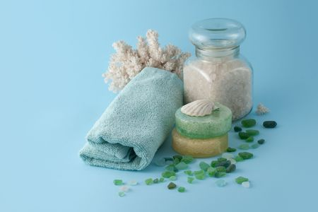 spa accessories on a blue background
