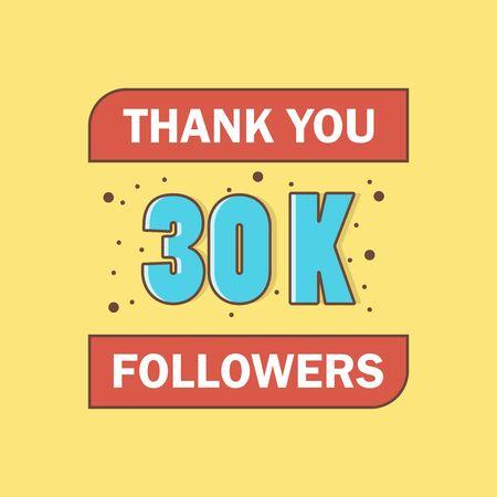 30k followers, Thank You, social sites post. Illusztráció