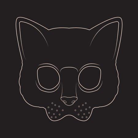 Cat msk line art
