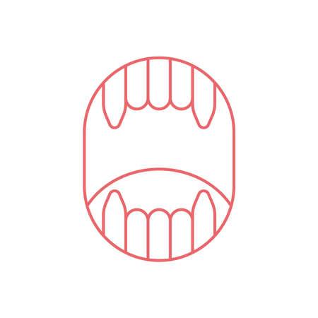 Fangs vector line art illustration Vettoriali
