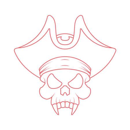 Pirate skull vector icon. Outline pirate skull