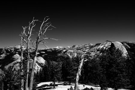 the sentinel: View from the top of Sentinel Dome, Yosemite National Park Stock Photo