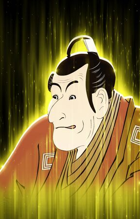 Kabuki actor shining yellow