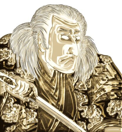 Kabuki actor shining in gold