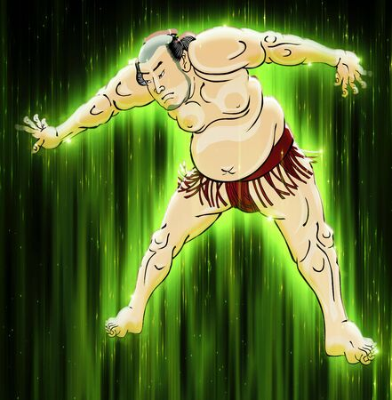 The Sumo Wrestler Shining in the Green