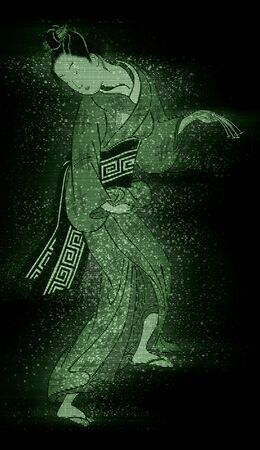 Kabuki actor in a green hologram