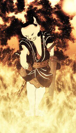 The cat of the samurai in the flame Foto de archivo