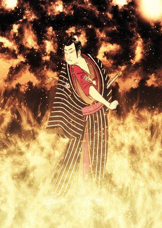 Kabuki actor in flames