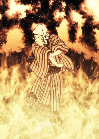 A male kabuki actor in flames