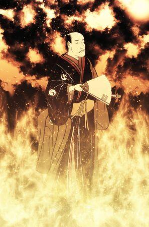 A samurai standing in flames