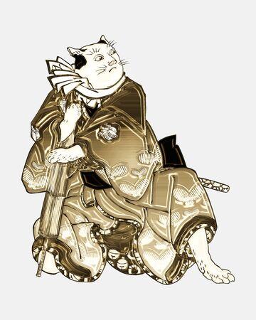 anthropomorphic cat shining in gold Foto de archivo