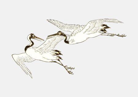 Two golden cranes